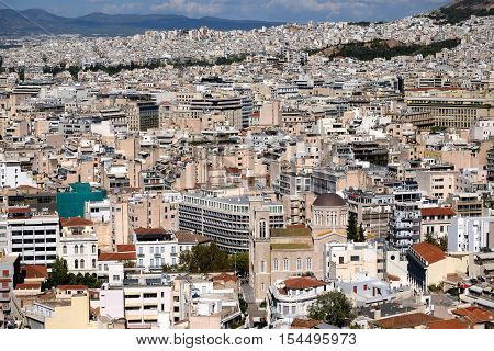 the city of Athens greece seen from above
