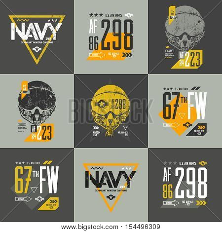 American air force grunge effect number t-shirt design vector set. Threadbare aviation pilot helmet tee print emblem. Shabby aircraft illustration and military number t-shirt logo concept.