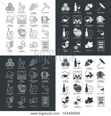 Thin line wine icons set isolated on dark and white. Web graphics simple mono outline icon symbol collection.  Linear stroke vector logo concept pictogram pack. Alcohol icons infographic illustration.