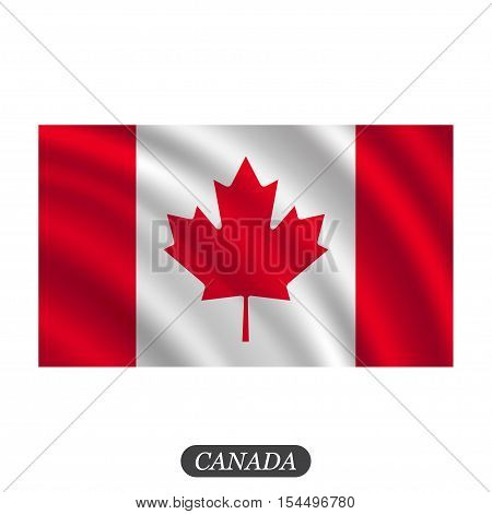 Waving Canada flag on a white background. Vector illustration