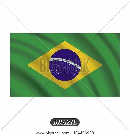 Waving Brazil flag on a white background. Vector illustration