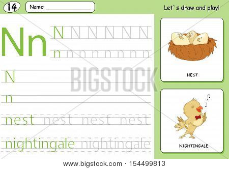 Cartoon Nightingale And Nest. Alphabet Tracing Worksheet: Writing A-z And Educational Game For Kids