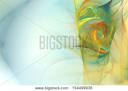 Abstract background with rainbow colored column on the side with spiral patterns smoke fractal texture