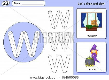 Cartoon Witch And Window. Alphabet Tracing Worksheet: Writing A-z And Educational Game For Kids