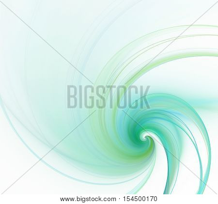 White abstract background. Fresh spiral curl or swirl in the corner with green smoke texture fractal pattern.