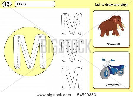 Cartoon Mammoth And Motorcycle. Alphabet Tracing Worksheet: Writing A-z And Educational Game For Kid