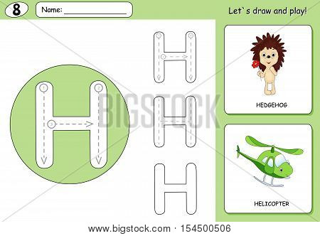 Cartoon Hedgehog And Helicopter. Alphabet Tracing Worksheet: Writing A-z And Educational Game For Ki