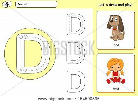 Cartoon Dog And Doll. Alphabet Tracing Worksheet: Writing A-z And Educational Game For Kids