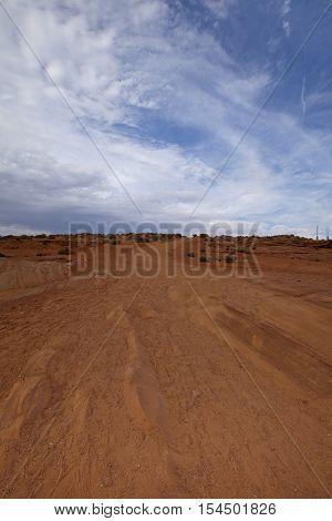 Tracks in the Arizona Desert Landscape, USA
