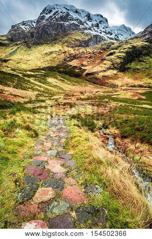 Mountain footpath in Glencoe Scotland in winter