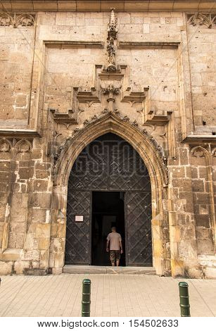 The door to the Church. Catherine of Alexandria and St.. Margaret in Krakow Poland