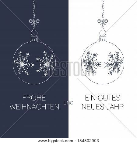 german christmas and new year greeting card with textured christmas balls and text duotone germany holiday vector