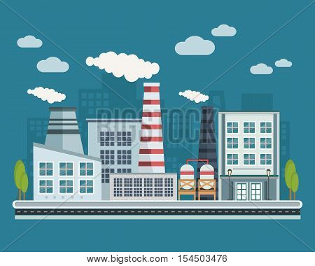Manufacturing buildings and industrial facilities with chimney and exhaust road infrastructure vector illustration