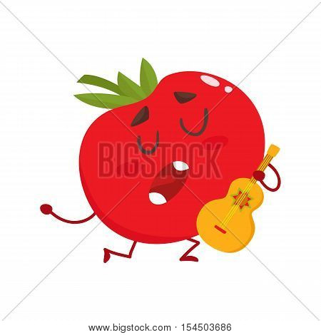 Tomato standing on one knee, playing guitar and singing serenade, cartoon vector illustration isolated on white background. Humanized tomato playing Spanish guitar and singing devotedly
