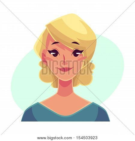 Pretty blond woman, neutral facial expression, cartoon vector illustrations isolated on blue background. Beautiful woman feeling glad, serene, relaxed, delighted. Neutral face expression