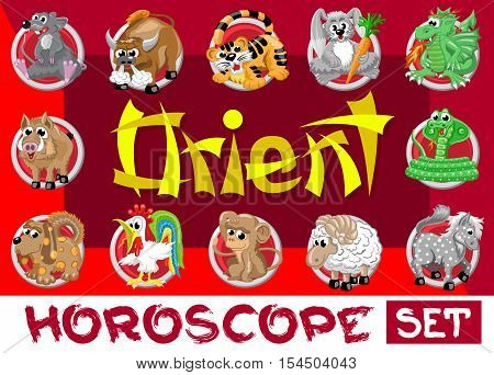 Orient horoscope set. Twelve chinese japanese zodiac signs in red circles isolated