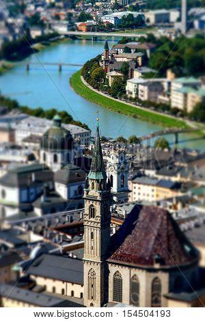 Tilt-shift Aerial View To Salzburg, Miniature Effect