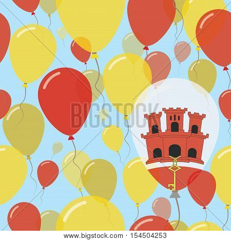 Gibraltar National Day Flat Seamless Pattern. Flying Celebration Balloons In Colors Of Gibraltar Fla