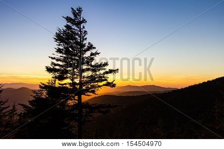 Great Smoky Mountains Sunset Landscape. Great Smoky Mountains Sunset Landscape. Sunset from the Clingman's Dome overlook in the Great Smoky Mountains National Park. Gatlinburg, Tennessee.