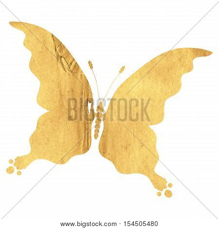 Silhouette vintage butterfly carved out of an old rough paper with a hole. Isolated. Vector