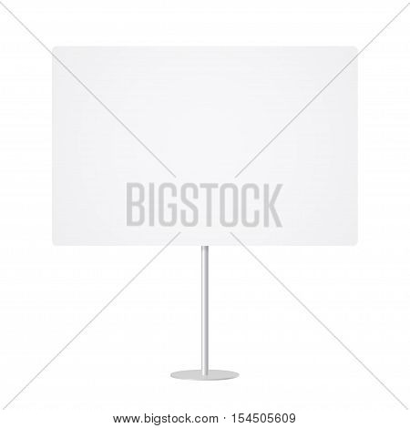 Blank whiteboard with empty copy space stand on one bar support. White billboard without frame for message commercial or presentation horizontal rectangle. Mockup board with single stand in vector.