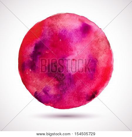Vector watercolor red frame. Colorful abstract. Grunge textute background. Handmade blot.