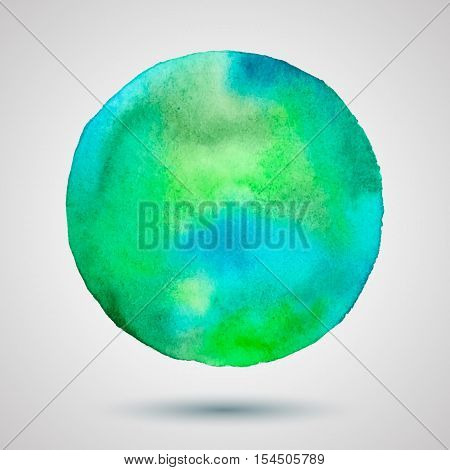 Vector watercolor blue frame. Colorful abstract. Spring textute background. Hand drawn blue mark
