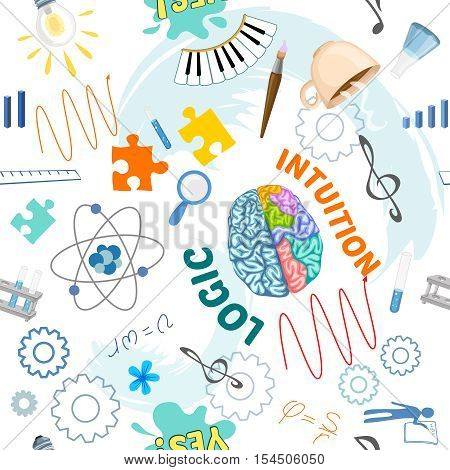 Creative brain seamless pattern with two parts of brain about logic or institution vector illustration