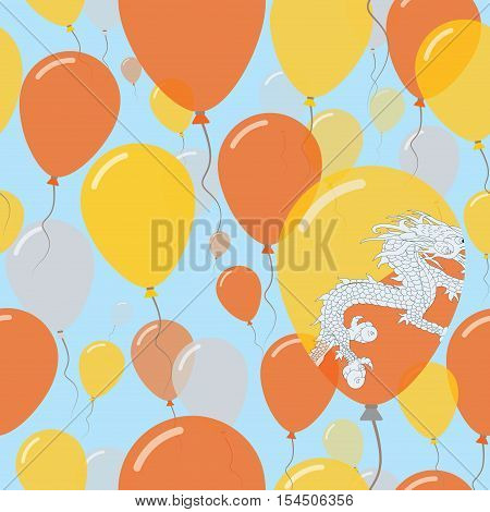 Bhutan National Day Flat Seamless Pattern. Flying Celebration Balloons In Colors Of Bhutanese Flag.