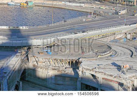 STOCKHOLM SWEDEN - OCT 30 2016: The fameous area Slussen in central Stockholm teared down preparing for the new roads in October 30 2016 in Stockholm Sweden