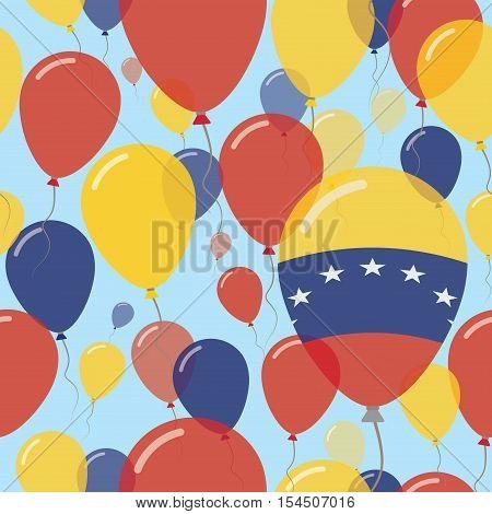 Venezuela, Bolivarian Republic Of National Day Flat Seamless Pattern. Flying Celebration Balloons In