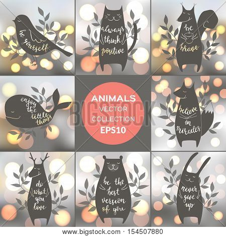 Vector collection of cute animals with motivation phrases. Brush hand lettering. Blur shining background. EPS10