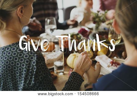 Thanksgiving Blessing Celebrating Grateful Meal Concept
