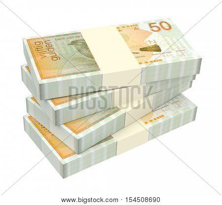 Netherlands Antillean guilder bills isolated on white background. 3D illustration.