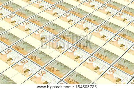 Netherlands Antillean guilder bills stacks background. 3D illustration.