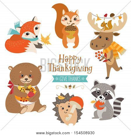 Set of cute forest animals for Thanksgiving design.