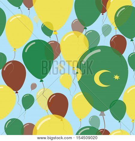 Cocos (keeling) Islands National Day Flat Seamless Pattern. Flying Celebration Balloons In Colors Of