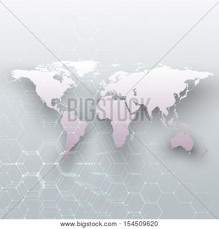 White world map, connecting lines and dots on gray color background. Chemistry pattern, hexagonal molecule structure, scientific research. Medicine, science concept. Abstract design vector decoration