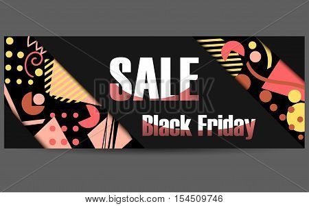 Black Friday Memphis Style Modern Banner. Sales And Discounts Brochure In The Style Of The '80S Memp