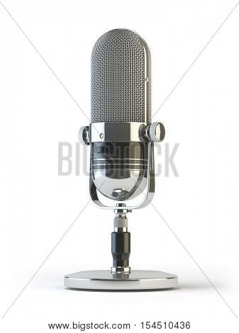 Retro old microphone isolated on white. Vintage, 3d illustration