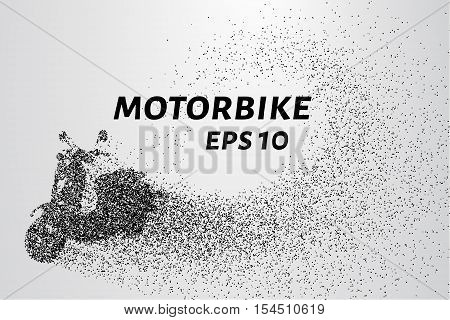 The motorbike of the particles. The motorbike breaks down into small circles and dots.