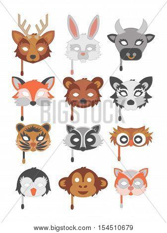 Set of cartoon animals party masks vector. Animal carnival mask vector holiday illustration party fun symbols. Celebration animal carnival mask character head masquerade festival decoration.