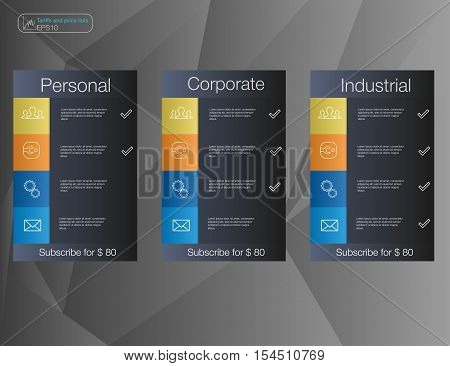 Three banner price list interface for the site. vector banner for web app.