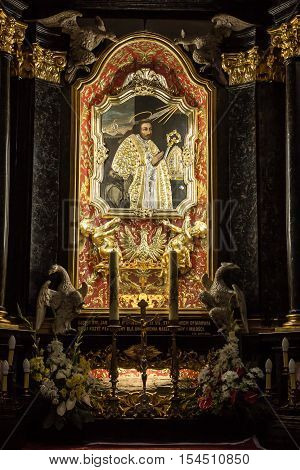 Krakow Poland - October 2 2016 r. Altar of St. Stanislaus of the first Polish saint in the Church of the Pauline Fathers on Skalka Krakow with the pectoral cross of Pope John Paul II