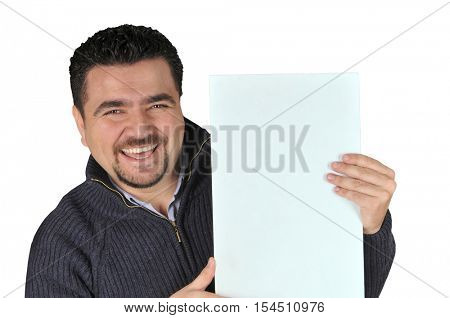 Young man holding blank sign All on white background