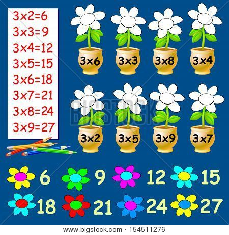 Exercise for children with multiplication by three. Need to paint the flowers in relevant color. Developing skills for counting. Vector image.
