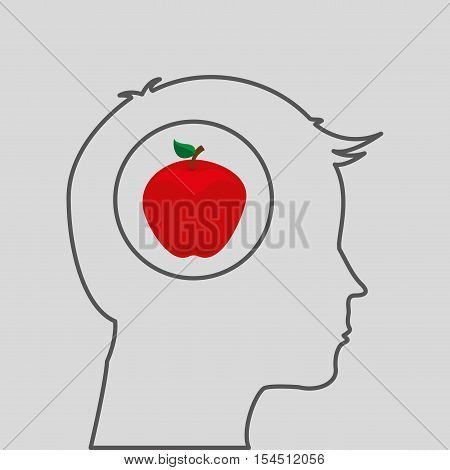 silhouette head with tasty apple icon graphic vector illustration eps 10