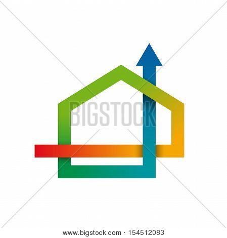 Vector concept Air conditioning for home colored isolated illustration