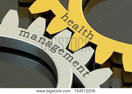 Health Management concept on the gearwheels 3D rendering