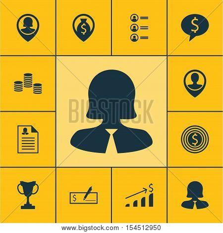 Set Of Hr Icons On Business Woman, Job Applicants And Tournament Topics. Editable Vector Illustratio